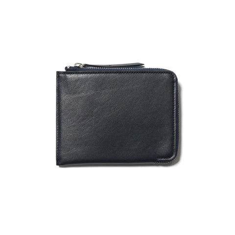 hobo Cow Leather Zip Card Case Navy