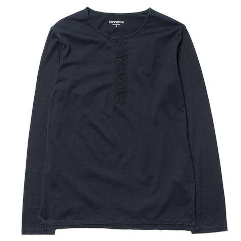Dweller Henley Neck LS Cotton Jersey Overdyed Black