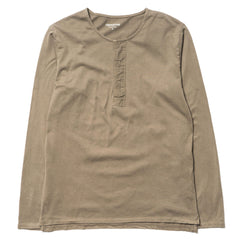Dweller Henley Neck LS Cotton Jersey Overdyed Taupe