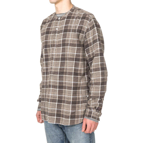 nonnative Farmer Pullover Shirt Cotton Flannel Print Check VW Taupe