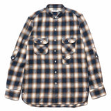 Gardener Shirt Cotton Twill Ombre Plaid Navy