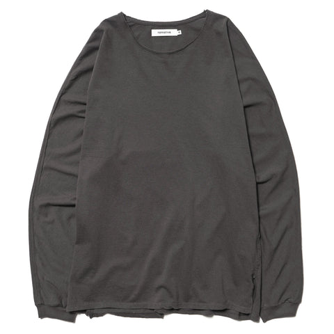 nonnative Roamer Tee L/S Cotton Jersey Overdyed Charcoal