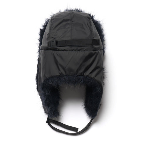 sacai Faux Fur Cap Black x Navy