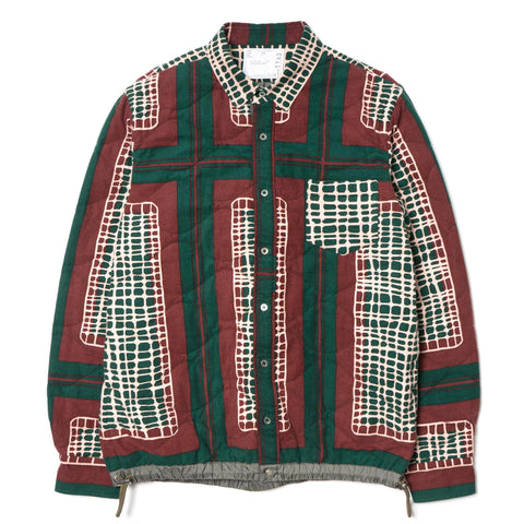 sacai Garment Washed Quilted Drawcord Shirt Green
