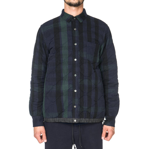 sacai Garment Washed Quilted Drawcord Shirt Navy x Black x Green