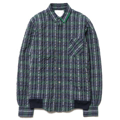sacai Seersucker Check Shirt Navy
