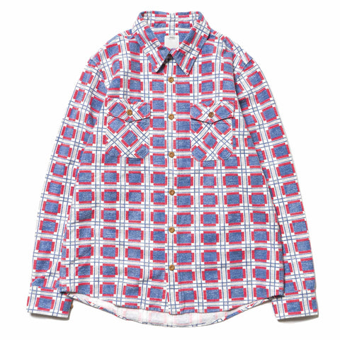 visvim Black Elk Flannel (Printed CK) Blue
