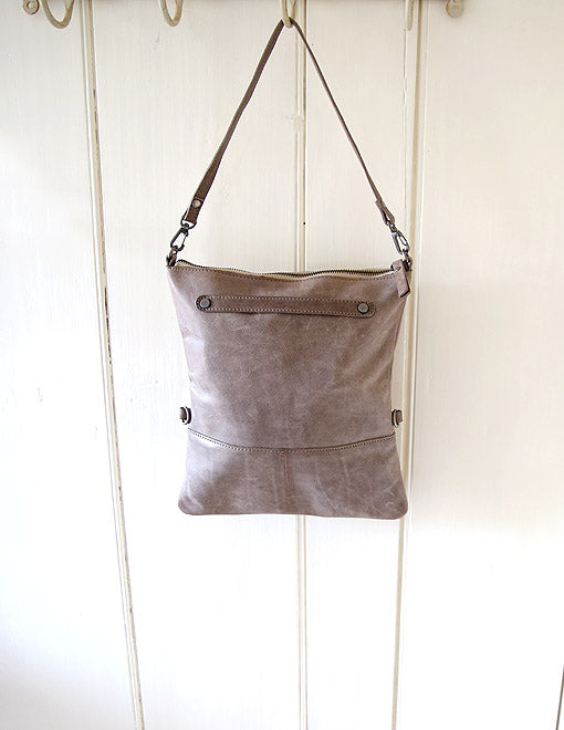 Three-In-One Mink Grey Leather Bag