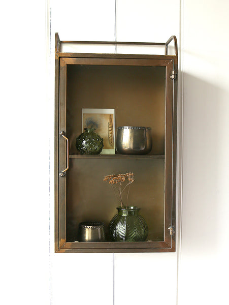 Antiqued Brass Wall Cabinet