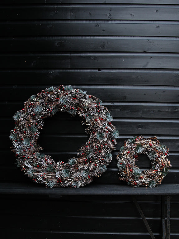 Assorted Pine Cones And Emerald Spruce Illuminated Wreath
