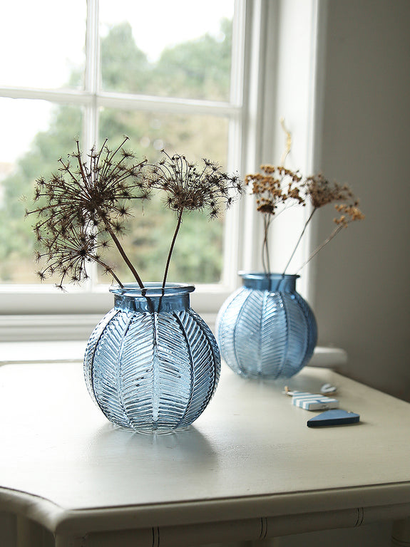Blue Embossed Leaves Glass Vase