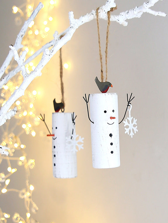 Mr Snowman With Robin Hanging Decoration