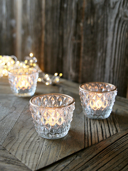 Clear Harlequin Glass Tea Light With Gold Rim