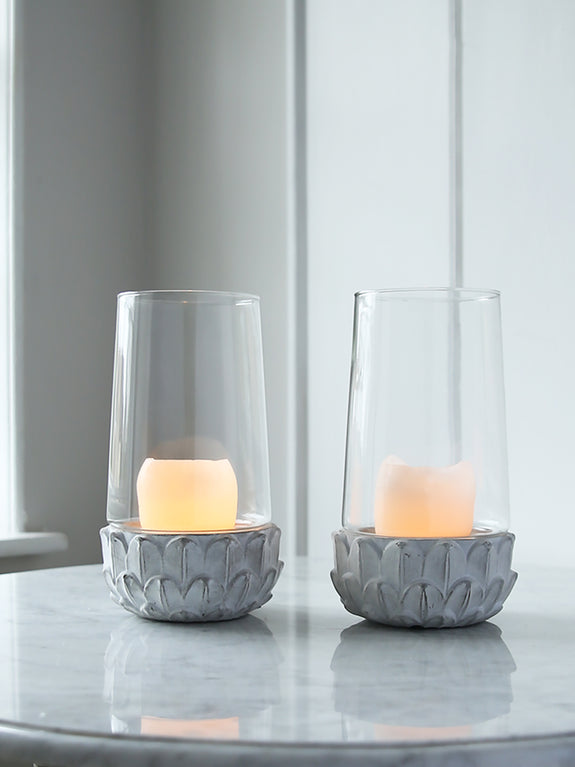 Concrete Leaves Candle Holder