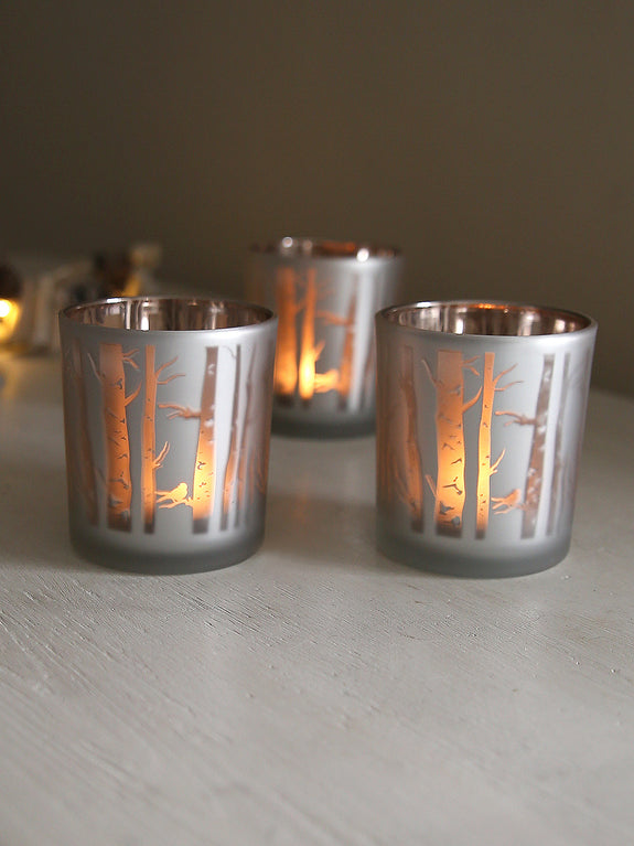 Frosted Woodland Tealight Holder