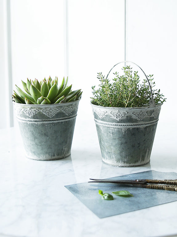 Metal Plant Pot With Embossed Decoration
