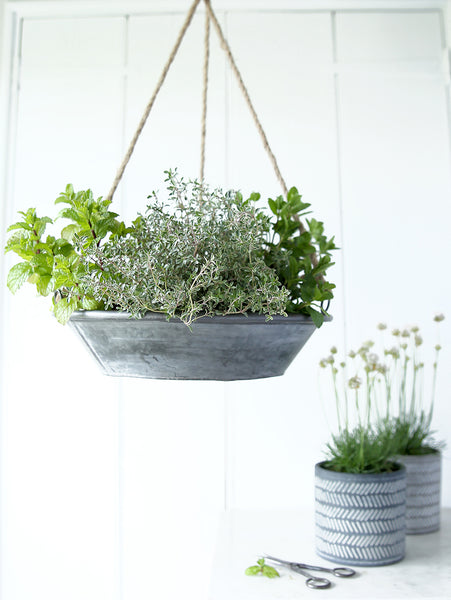 Galvanised Metal Hanging Planter