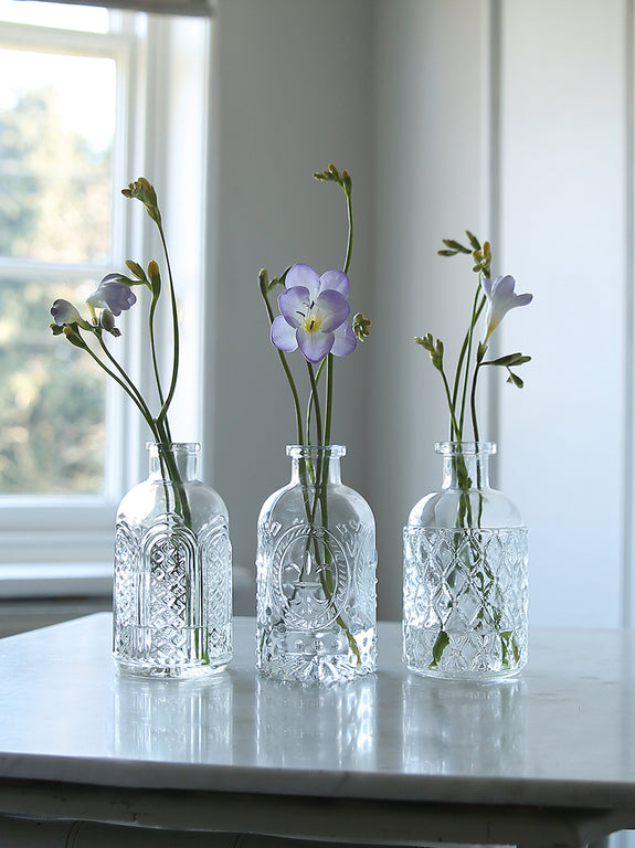 Pressed Glass Bottle Vase Trio