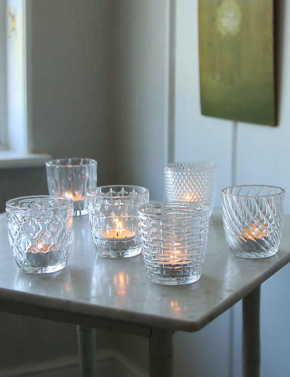 Set Of Six Glass Patterned Tea Light Holders