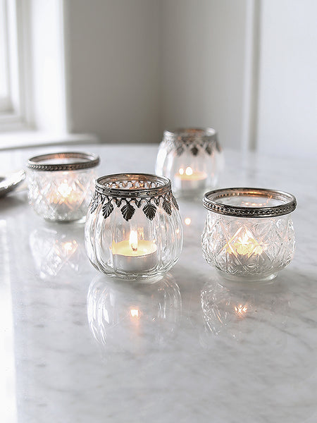 Glass Tea Light Holder With Decorative Trim