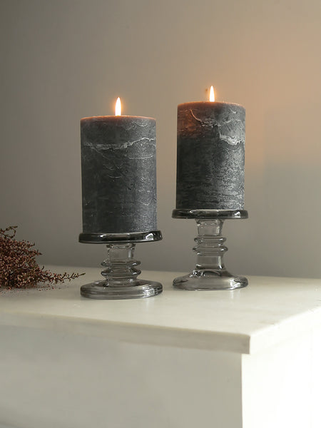 Grey Glass Pillar Candle Holder
