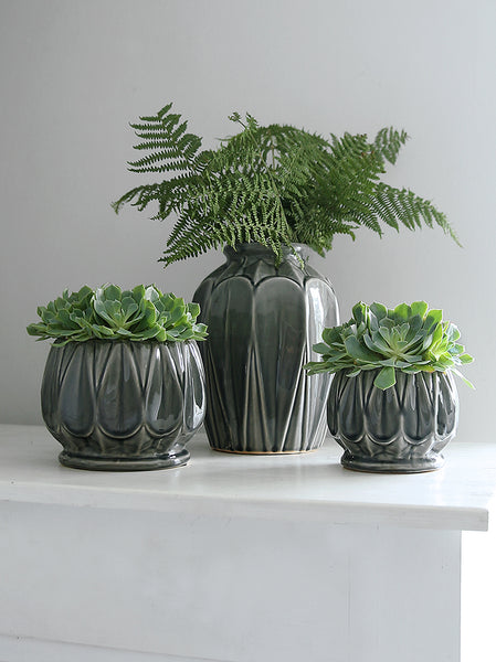 Grey Glazed Deco Pot Collection