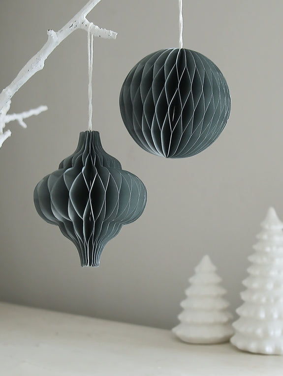 Grey Honeycomb Bauble Pair
