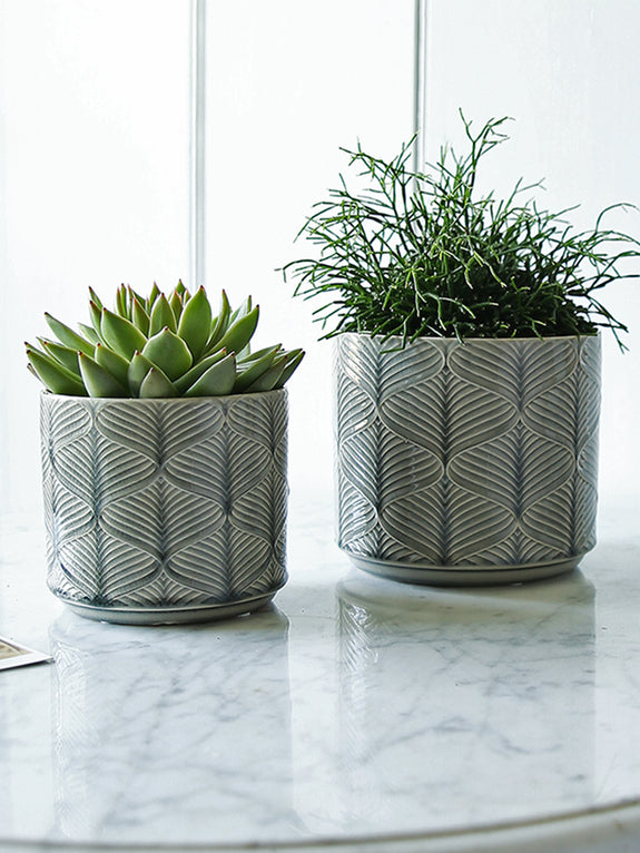 Grey Wave Glazed Plant Pot