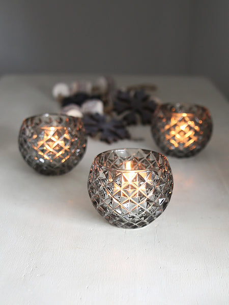 Grey Diamond Cut Glass Tea Light Holder