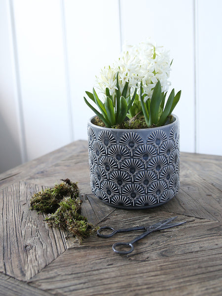 Grey Fan Patterned Plant Pot