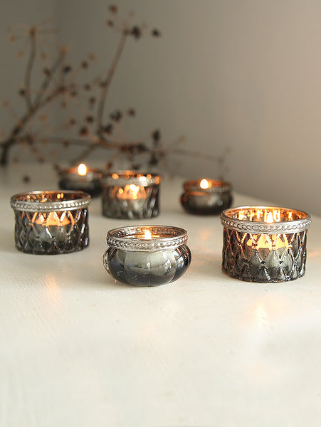 Grey Glass Tea Light Holders With Decorative Trim