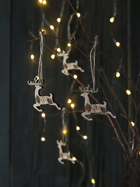 Leaping Reindeer With Golden Antlers Set Of Eight