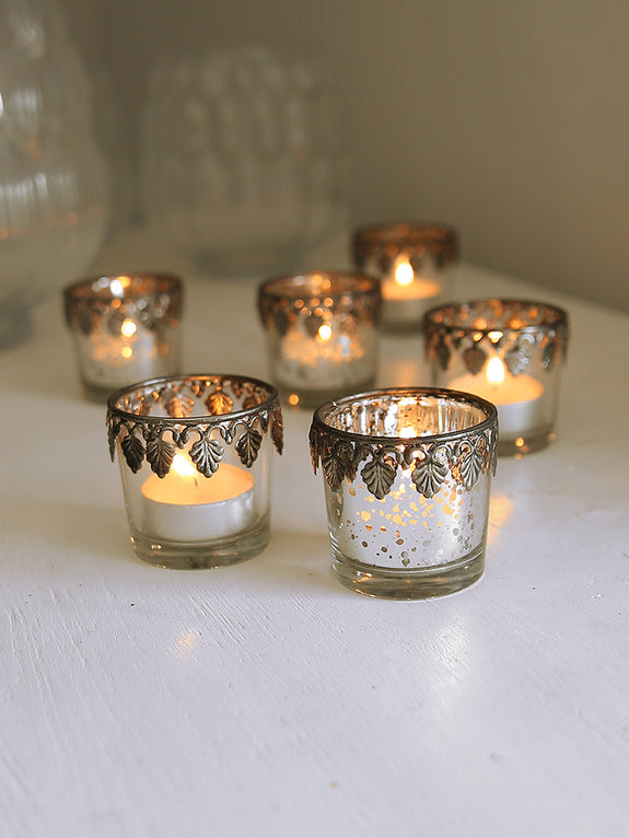 Little Glass Tea Light Holder With Leaf Trim