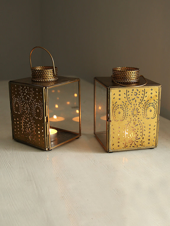 Patterned Metal Tea Light Lantern