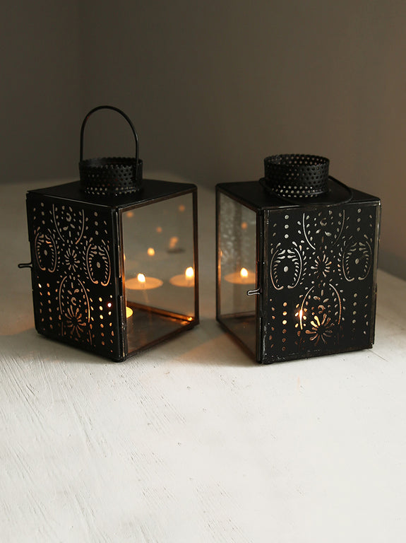 Black Patterned Metal Tea Light Lantern