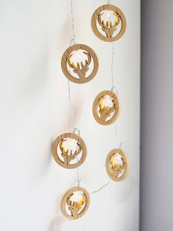 Natural Reindeer Pendant Light Garland
