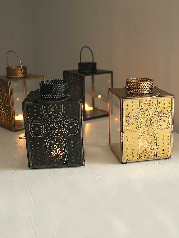 Brass Patterned Metal Tea Light Lantern