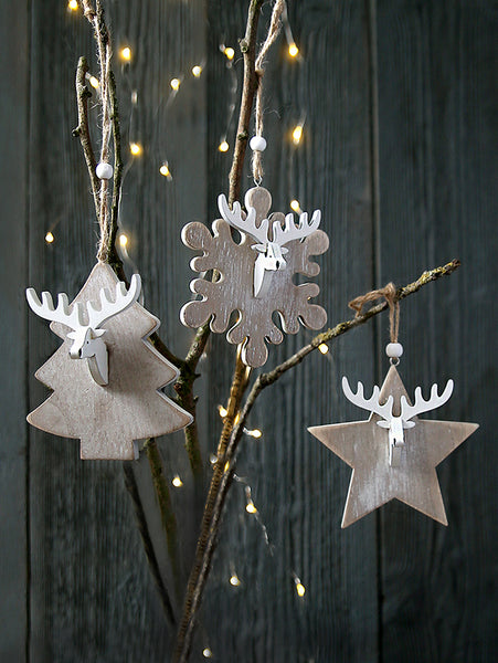 Reindeer Head Wooden Hanging Decoration