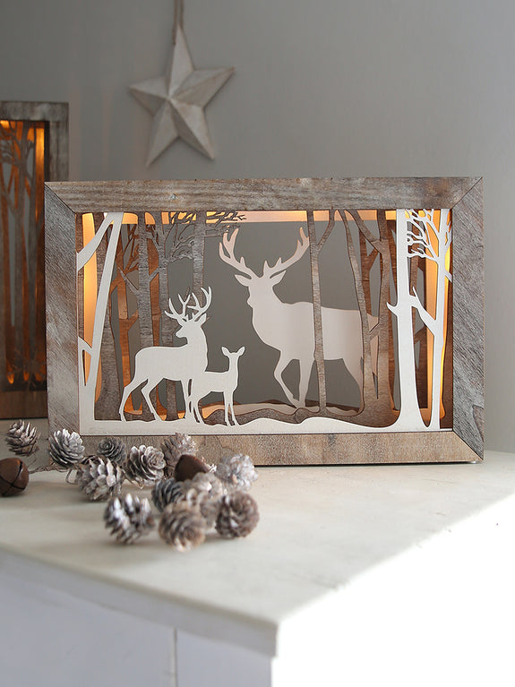 Reindeer Landscape Illuminated Box Frame