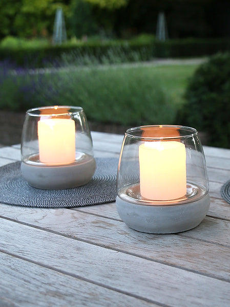 Rounded Concrete Candle Holder