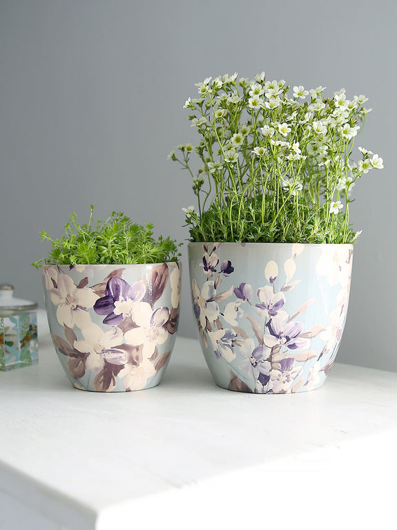 Sky Blue Botanical Plant Pot