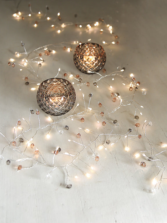 Smokey Grey And Quartz Crystal Cascade Light Garland