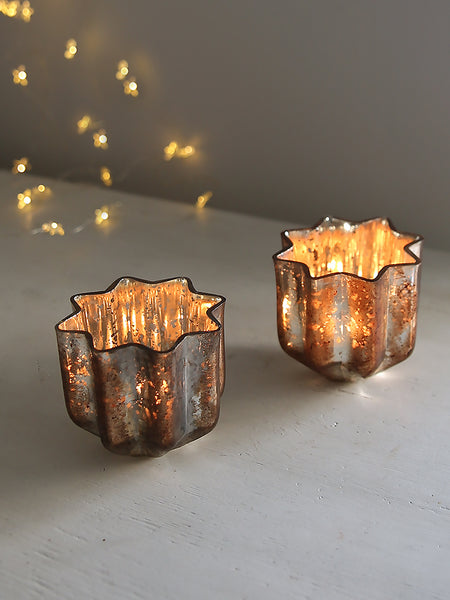 Star Glass Tea Light Holder