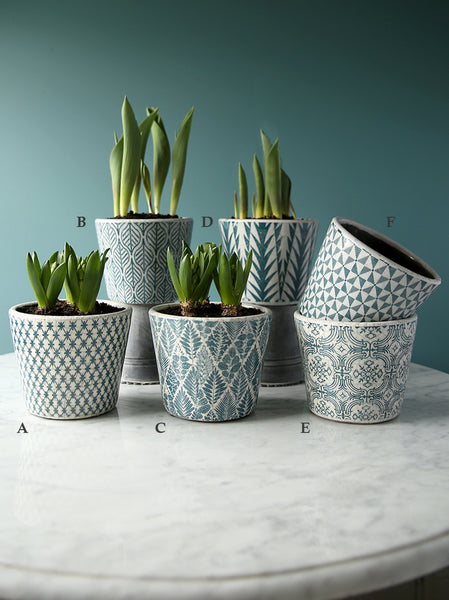 Teal Patterned Plant Pot