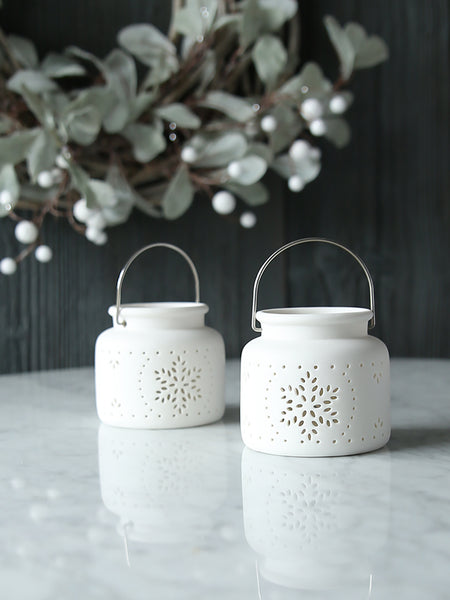 White Ceramic Snowflake Tealight