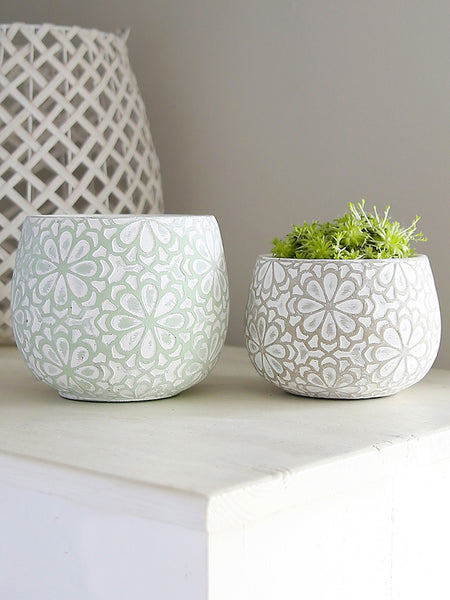 Whitewashed Bloom Cement Pot