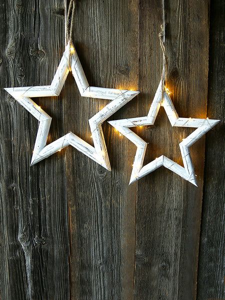 Whitewashed Wooden Star With Lights