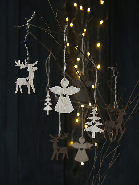 Wooden Angel, Tree And Reindeer Decoration Set Of Nine