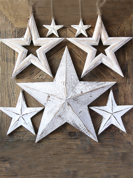 Whitewashed Wooden Hanging Star Collection