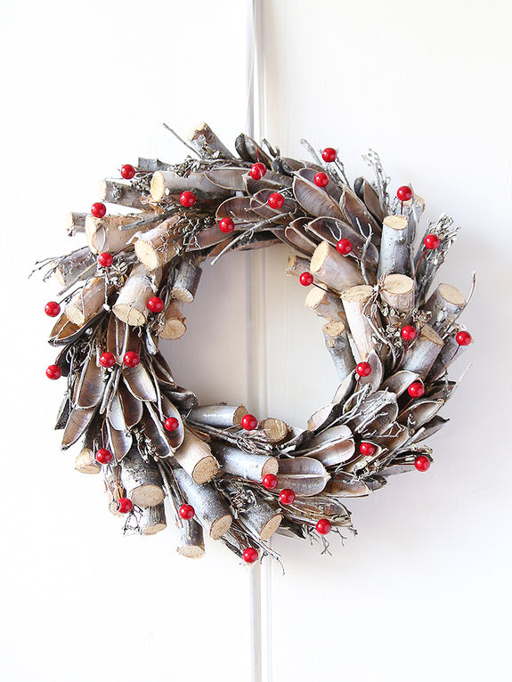 Birch And Red Berries Wreath